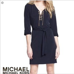 Michael Kors gold chain lace up black dress